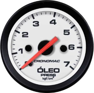 Manômetro Óleo 7KGF/CM² Mecânico ø52mm Street/Branco | Cronomac