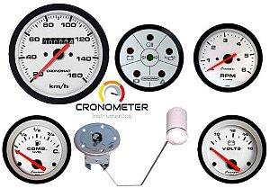 KIT 5 Instrumentos ø85mm/52mm RPM 52mm Buggy Street/Branco STD   Cronomac