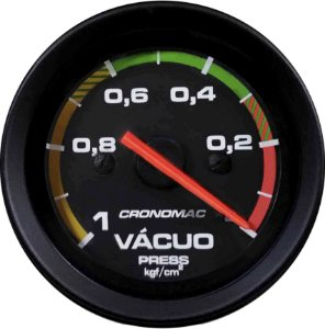 Vacuômetro Com Faixa ø52mm Street/Preto| Cronomac