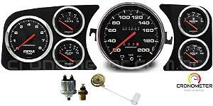 Painel Fusca 200km/h Cronomac Completo com Sensor e Boia de Braço - Preto