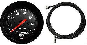 Manômetro Combustível 7KGF/CM² ø52mm COM MANGUEIRA 1,80M Street/Preto | Cronomac