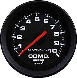 Manômetro Combustível 10KGF/CM² ø52mm Street/Preto | Cronomac