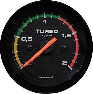 Manômetro Turbo 2KGF/CM² COM FAIXA ø52mm Street/Preto| Cronomac
