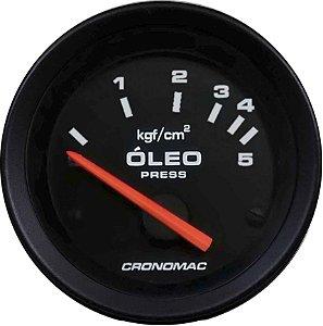 Manômetro Óleo Elétrico 12 Volts 5KGF/CM² ø52mm Street/Preto | Cronomac