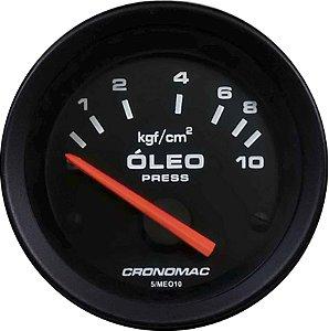 Manômetro Óleo Elétrico 12 Volts 10KGF/CM² ø52mm Street/Preto | Cronomac