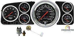 Painel Fusca 260km/h Cronomac Completo com Sensor e Boia de Braço - Preto