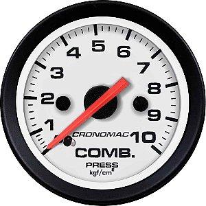 Manômetro Combustível 10KGF/CM² ø52mm Street/Branco | Cronomac