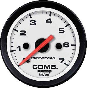 Manômetro Combustível 7KGF/CM² ø52mm Street/Branco| Cronomac