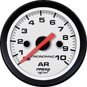 Manômetro de Ar 10KGF/CM² ø52mm Street/Branco| Cronomac
