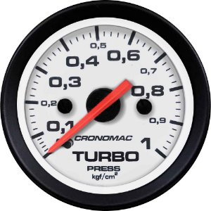 Manômetro Turbo 1KGF/CM² ø52mm Street/Branco | Cronomac