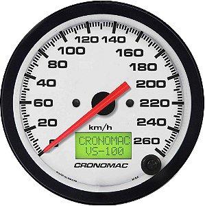 Velocímetro 260km/h ø100mm Eletrônico Street/Branco| Cronomac