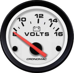 Voltímetro ø52mm 12 Volts Street/Branco | Cronomac