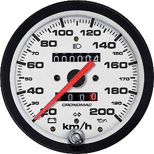 Velocímetro 200km/h ø100mm Hodom. Duplo e Sinaleira Street/Branco | Cronomac