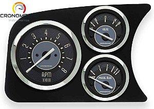 Painel Fusca L.E. Contagiro/Voltímetro/Pressão do Óleo COM Sensor - Bege | Cronomac
