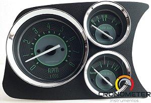 Painel Fusca L.E. Contagiro/Termômetro do Óleo/Pressão do Óleo COM Sensor - Verde | Cronomac