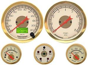 KIT 5 Instrumentos ø100mm/52mm c/ Velocímetro Eletrônico com Motor Gasolina Hot Gold | Cronomac