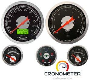 KIT 5 Instrumentos ø100mm/52mm c/ Velocímetro Eletrônico com Motor Gasolina Hot Black | Cronomac