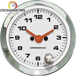 Relógio de Horas ø52mm - Cromado Branco Cronomac