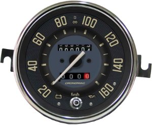 Velocimetro Fusca 110mm 2 Odometros e Sinaleira Original Cronomac 160km/h VW Bege