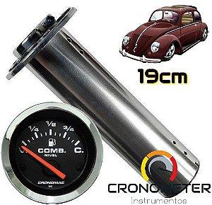 Indicador de Combustível com Boia Tubular 19cm Fusca Tanque Normal V=70/C=7 Cromado/Preto