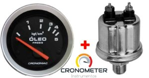 Manômetro Óleo 5KGF/CM² Elétrico 12 Volts COM Sensor ø52mm Sport | Cronomac