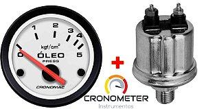 Manômetro Óleo 5KGF/CM² Elétrico 12 Volts COM Sensor ø52mm Street/Branco| Cronomac