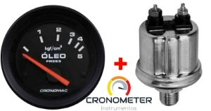 Manômetro Óleo 5KGF/CM² Elétrico 12 Volts  COM Sensor ø52mm Street/Preto| Cronomac