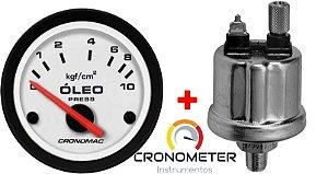 Manômetro Óleo 10KGF/CM² Elétrico 12 Volts  COM Sensor ø52mm Street/Branco| Cronomac