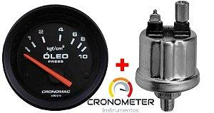 Manômetro Óleo 10KGF/CM² Elétrico 12 Volts  COM Sensor ø52mm Street/Preto| Cronomac