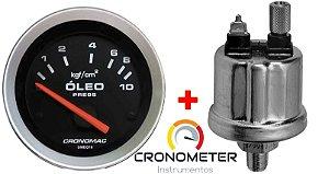 Manômetro Óleo 10KGF/CM² Elétrico 12 Volts COM Sensor ø52mm Sport   Cronomac