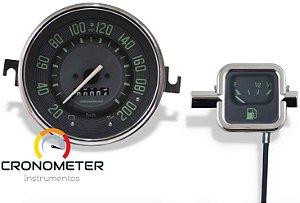 Kit Velocímetro 200km/h e Indicador Mecânico Original VW/Verde  Cronomac