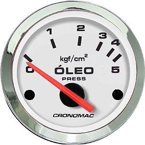 Manômetro Óleo 5KGF/CM² Elétrico 12 Volts ø52mm Cromado/Branco| Cronomac