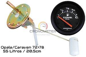 Indicador ø52mm Street/Preto com Boia Combustível OPALA/CARAVAN 55L 72>78 S/ Retorno C=40/V=280 20,5CM