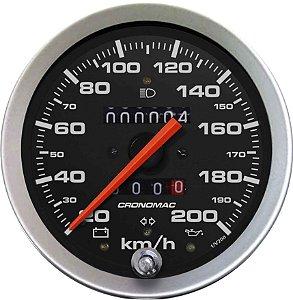 Velocímetro 200km/h ø100mm Hodometro Duplo e Sinaleira Sport | Cronomac