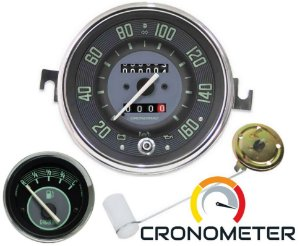 Kit Velocímetro Fusca 110mm 2 Odometros e Sinaleira / Indicador Combustivel 12V / Boia / Cronomac 160km/h - Verde