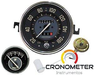Kit Velocímetro Fusca 110mm 2 Odometros e Sinaleira / Indicador Combustivel 12V / Boia / Cronomac 160km/h - Bege