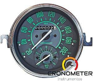 Velocimetro Fusca 110mm Original Cronomac 200km/h com Contagiro VW Verde