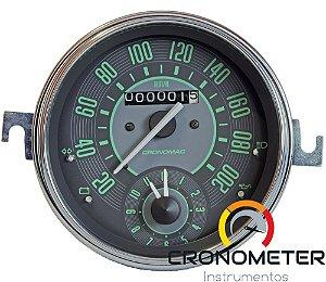 Velocimetro Fusca 110mm Original Cronomac 200km/h com Relógio Horas VW Verde