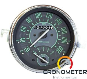 Velocimetro Fusca 110mm Original Cronomac 200km/h com Indicador Combustível VW Verde