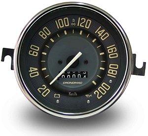 Velocimetro Fusca 110mm 1 Odometro e Sinaleira Original Cronomac 200km/h VW Bege