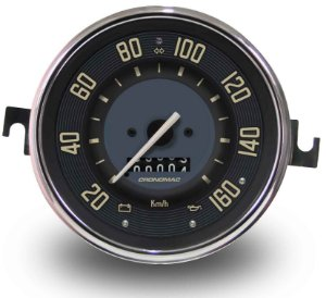 Velocimetro Fusca 110mm 1 Odometro e Sinaleira Original Cronomac 160km/h VW Bege