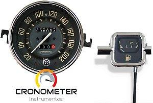 Kit Velocímetro 200km/h Odometro Duplo e Indicador Mecânico Original VW/Bege | Cronomac