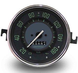 Velocimetro Fusca 110mm 1 Odometro e Sinaleira Original Cronomac 160km/h VW Verde