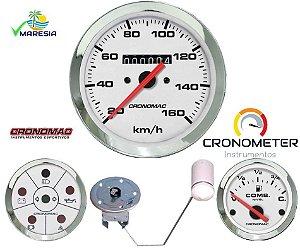 KIT 3 Instrumentos ø100mm/52mm Fusca/Buggy Cromado/Branco | Cronomac