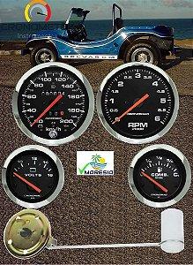 KIT 4 Instrumentos ø100mm/52mm Fusca/Buggy Cromado/Preto -Velocímetro Duplo e Sinaleira | Cronomac