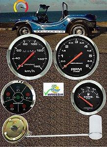 KIT 4 Instrumentos ø85mm/52mm Fusca/Buggy Cromado/Preto| Cronomac