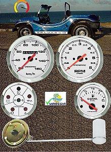 KIT 4 Instrumentos ø100mm/52mm Fusca/Buggy Branco/Preto| Cronomac