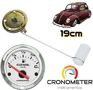 Indicador de Combustível com Boia Haste 19cm Fusca Tanque Normal V=70/C=7 Cromado/Branco