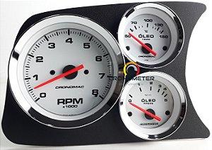 Painel Fusca L.E. Contagiro/Termômetro do Óleo/Pressão do Óleo 5kgf COM Sensor - Branco| Cronomac