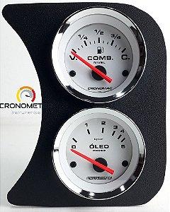 Painel Fusca L.D. Nível de Combustível e Manômetro do Óleo 5kgf - Branco| Cronomac